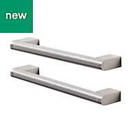 GoodHome Khara Nickel effect Cabinet handle (L)188mm, Pack of 2