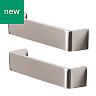 GoodHome Stainless steel effect Cabinet handle (L)136mm, Pack of 2