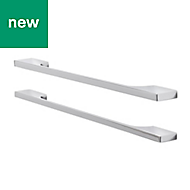 GoodHome Chrome effect Cabinet handle (L)352mm, Pack of 2