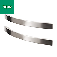 GoodHome Sabaku Nickel effect Cabinet handle (L)260mm, Pack of 2