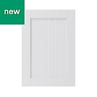 GoodHome Alpinia Matt white tongue & groove shaker Highline Cabinet door (W)500mm