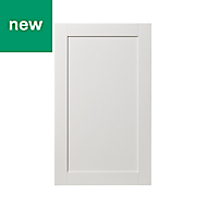 GoodHome Alpinia Matt ivory painted wood effect shaker 50:50 Larder Cabinet door (W)600mm