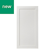 GoodHome Alpinia Matt ivory painted wood effect shaker Tall Larder Cabinet door (W)600mm