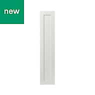 GoodHome Alpinia Matt ivory painted wood effect shaker Tall Larder Cabinet door (W)300mm