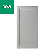 GoodHome Alpinia Matt grey painted wood effect shaker Tall Larder Cabinet door (W)600mm