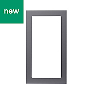 GoodHome Stevia Gloss anthracite slab Tall glazed Cabinet door (W)500mm