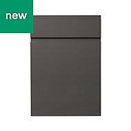 GoodHome Garcinia Gloss anthracite integrated handle Drawerline door & drawer front, (W)500mm