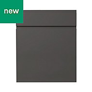 GoodHome Garcinia Gloss anthracite integrated handle Drawerline door & drawer front, (W)600mm