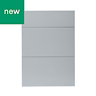 GoodHome Alisma High gloss grey slab Drawer front (W)500mm, Pack of 3