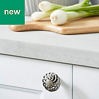 GoodHome Ajika Pewter effect Knob cabinet handle (L)45mm, Pack of 2