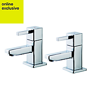 GoodHome Cooleen Chrome plated Bath pillar tap, Pack of 2