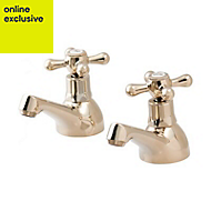 GoodHome Keiss Gold effect Bath pillar tap, Pack of 2