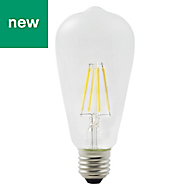 Diall E27 5W 470lm ST64 Neutral white LED Filament Light bulb