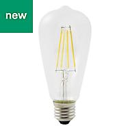 Diall E27 7W 806lm ST64 Neutral white LED Filament Light bulb