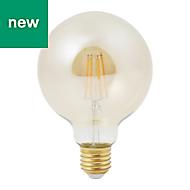Diall E27 6W 470lm Globe Neutral white LED Filament Light bulb