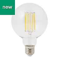 Diall E27 13W 1521lm Globe Warm white LED Dimmable Filament Light bulb