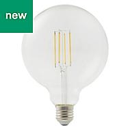 Diall E27 7W 806lm Globe Neutral white LED Filament Light bulb