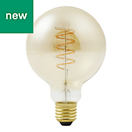 Diall E27 5W 250lm Globe Warm white LED Filament Light bulb