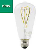 Diall E27 4W 470lm ST64 Warm white LED Filament Light bulb, Pack of 2