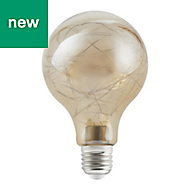 Diall E27 1W 10lm GLS Neutral white LED Filament Light bulb