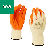 Site Latex & polycotton blend Gloves, Medium