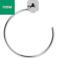 GoodHome Koros Wall mounted Silver Effect Chrome Plated Towel ring