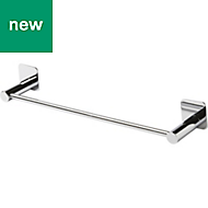 GoodHome Koros Wall mounted Silver Effect Chrome Plated Towel rail, (W)423mm