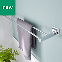 GoodHome Koros Wall mounted Silver Effect Chrome Plated Towel rail, (W)623mm