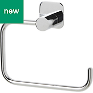 GoodHome Koros Wall mounted Silver Effect Chrome Plated Toilet roll holder, (W)153mm