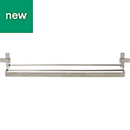 GoodHome Amantea Wall mounted Brushed Towel rail, (W)600mm