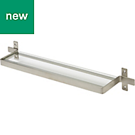 Amantea Brushed Silver Effect Glass Shelf (L)500mm (D)100mm