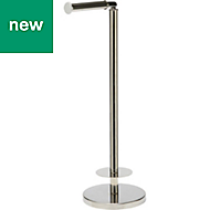 GoodHome Ormara Freestanding Silver Effect Chrome Plated Toilet Paper Holder, (W)219mm
