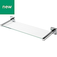 Alessano Silver Effect Chrome Plated Clear Glass Shelf (L)480mm (D)155mm