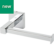 GoodHome Alessano Silver Effect Wall mounted Chrome Plated Toilet Roll Holder, (W)168mm
