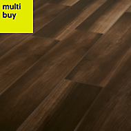 High gloss Brown & grey Gloss Wood effect Ceramic Floor tile, Pack of 7, (L)900mm (W)150mm