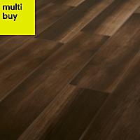 High gloss Brown & grey Gloss Wood effect Ceramic Floor tile, Pack of 7, (L)900mm (W)150mm