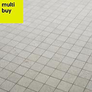 Metal ID Light grey Concrete effect Porcelain Mosaic tile, (L)305mm (W)305mm