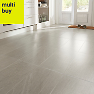 Natural White Satin Stone effect Porcelain Floor tile, Pack of 6, (L)600mm (W)300mm