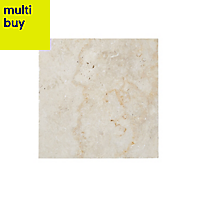 Real Tumbled Travertine Cream Natural stone Floor tile, Pack of 4, (L)406mm (W)406mm