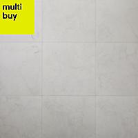 Ideal White Matt Marble effect Ceramic Floor tile, Pack of 13, (L)338mm (W)338mm