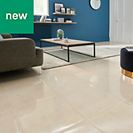 Elegance Beige Gloss Marble effect Ceramic Floor tile, Pack of 7, (L)450mm (W)450mm