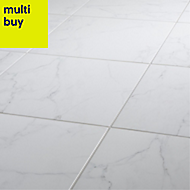 Elegance White Gloss Marble effect Ceramic Floor tile, Pack of 7, (L)450mm (W)450mm