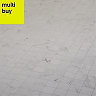 Elegance White Gloss Marble effect Ceramic Mosaic tile, (L)300mm (W)300mm