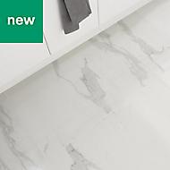 Ultimate White Semi-polished Marble effect Porcelain Floor tile, Pack of 3, (L)595mm (W)595mm