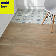 Antic rustic Natural Matt Wood effect Porcelain Floor tile, Pack of 4, (L)1200mm (W)200mm