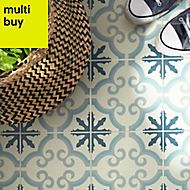 Hydrolic Blue Matt Concrete Porcelain Floor tile, Pack of 25, (L)200mm (W)200mm