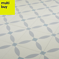 Hydrolic Blue Matt Porcelain Floor tile, Pack of 25, (L)200mm (W)200mm