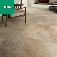 Tumbled travertine Cream Matt Stone effect Natural stone Floor tile, Pack of 6, (L)610mm (W)406mm