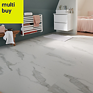 Ultimate white Matt Marble effect Porcelain Floor tile, Pack of 3, (L)600mm (W)600mm