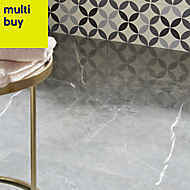 Ultimate Grey Marble effect Porcelain Floor tile, Pack of 3, (L)595mm (W)595mm